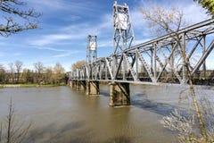 Pedestrian bridge in Salem Oregon. River crossing pedestrian bridge in Salem Oregon Stock Photography