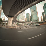 Pedestrian bridge in shanghai downtown Stock Image