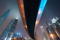 Pedestrian bridge with shanghai skyline at night Royalty Free Stock Photos
