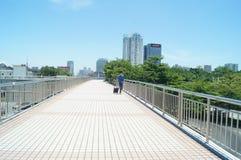 The pedestrian bridge in Shenzhen Nanshan, China Royalty Free Stock Image