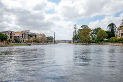 Pedestrian bridge and a small harbour in East Perth Royalty Free Stock Photo