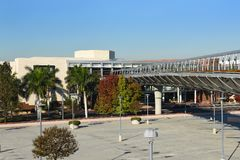 Pedestrian Bridge South Coast Plaza. COSTA MESA, CA - DEC 1, 2017: Pedestrian Bridge South Coast Plaza. The bridge conects the main mall with the Crystal Court Royalty Free Stock Images