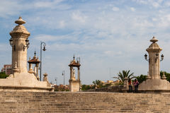 Pedestrian bridge with statues, Valencia, Spain. Historical pedestrian bridge with statues, Valencia, Spain Stock Image