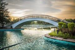 Pedestrian bridge at sunset Royalty Free Stock Images