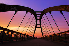 Pedestrian Bridge at Sunset Stock Image