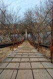 Pedestrian bridge to cross the river. Small pedestrian bridge to cross the river stock photo