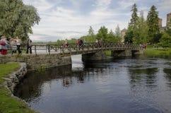 Pedestrian bridge to Olavinlinna fortress Stock Photos