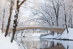 Pedestrian bridge in winter over the Riga canal near Bastejkalns. Large park trees covered in snow Stock Photos