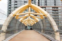 Pedestrian bridge for train overpass stock images