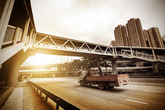 Pedestrian bridges and highways Stock Image