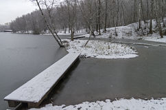 Pedestrian bridges on a the newly frozen pond Royalty Free Stock Images