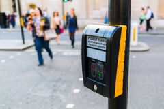 Pedestrian button at a pedestrian crossing in London, UK stock photo