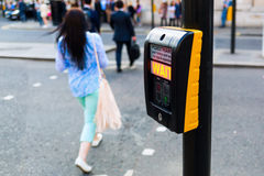 Pedestrian button at a pedestrian crossing in London, UK Stock Image
