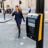 Pedestrian button at a pedestrian crossing in London, UK Stock Images