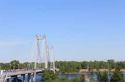 Pedestrian cable-stayed bridge across the Yenisei to the island Tatysheva. Royalty Free Stock Photography