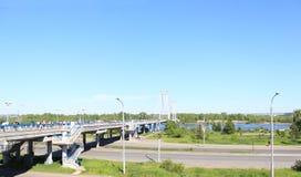 Pedestrian cable-stayed bridge across the Yenisei to the island Tatysheva Royalty Free Stock Photo