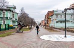 Pedestrian Chumbarova-Luchinskogo Avenue in Arkhangelsk, Russia. Arkhangelsk, Russian Federation - May 24, 2017: Pedestrian Chumbarova-Luchinskogo Avenue, an Royalty Free Stock Photo