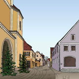 Pedestrian cozy street in perspective. Royalty Free Stock Images