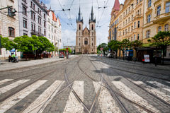 Pedestrian cross opposite the church Royalty Free Stock Photography