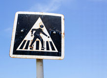 Pedestrian cross sign Royalty Free Stock Photo