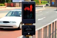 Pedestrian Crossing. Stop light on UK pedestrian crossing Stock Photos