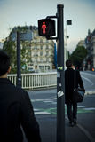 Pedestrian crossing. With the red no go light in the morning Stock Images