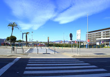 Pedestrian crossing at Barcelona Airport Stock Image