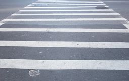 Pedestrian Crossing black and white stripes. Pedestrian road Crossing in black and white stripes for people safety Royalty Free Stock Images