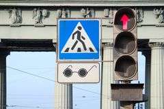 Pedestrian crossing for blind people Royalty Free Stock Photos