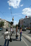 Pedestrian crossing in Budapest Stock Photography