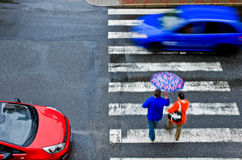 Pedestrian crossing with car Royalty Free Stock Photography