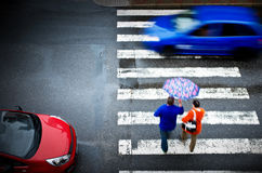 Pedestrian crossing with car Royalty Free Stock Images