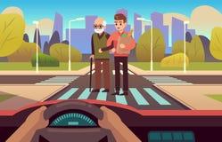Free Pedestrian Crossing. Elderly Care, People Cross Road On Street, Car Inside, Drivers Hands On Wheel Panel, Observing Stock Photos - 200790953