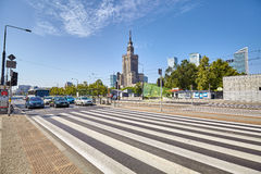 Pedestrian crossing in front of the Palace of Culture and Science. Stock Images