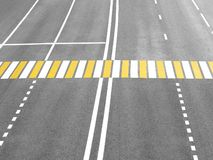 Pedestrian crossing on highway, security concept on road, large crosswalk, top view royalty free stock images