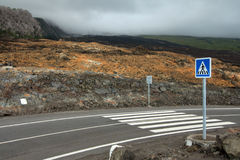Pedestrian crossing on lava flow Royalty Free Stock Photos