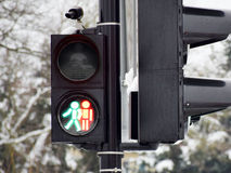 Pedestrian crossing lights. Green and red traffic light  walk together Royalty Free Stock Photo
