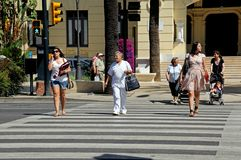 Pedestrian crossing, Malaga. Royalty Free Stock Image