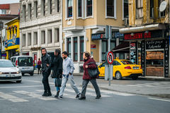 Pedestrian crossing in Ostakoy in Istanbul, Turkey Royalty Free Stock Image