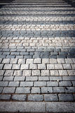 Pedestrian crossing on a pavement. Pedestrian crossing on cobblestone road pavement Stock Photos