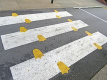 Pedestrian crossing and prints of crow`s feet. Zoo in Singapore stock photos