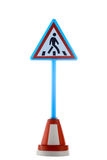 Pedestrian crossing road sign. Isolated on the white stock photos