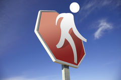 Pedestrian crossing road sign Stock Photo