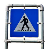 Pedestrian crossing road sign. Royalty Free Stock Image