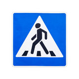 Pedestrian crossing road sign isolated on white Stock Photography