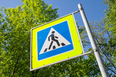 Pedestrian crossing. Road sign in summer city Royalty Free Stock Photography