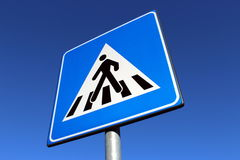 Pedestrian crossing road sign. Zebra crossing Royalty Free Stock Images
