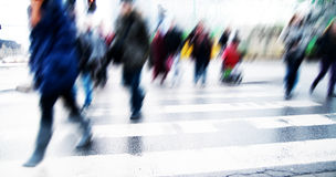 Pedestrian crossing rush. People moving motion Stock Images