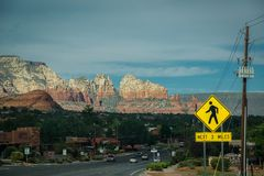 Pedestrian crossing sedona red rock Park royalty free stock photo
