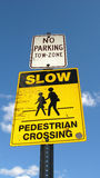 Pedestrian crossing sign. A sign for pedestrians crossing Royalty Free Stock Photos
